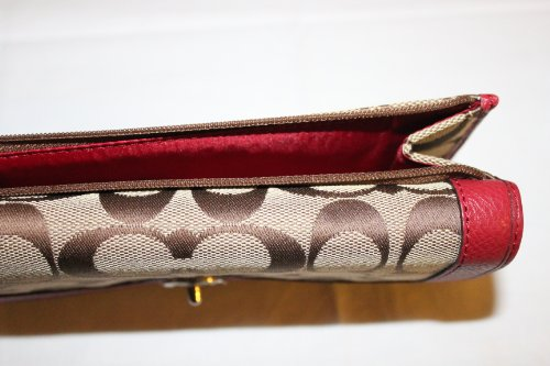 Coach   Coach Park Signature Turnlock Checkbook Wallet Silver/black Cherry 49145 $228