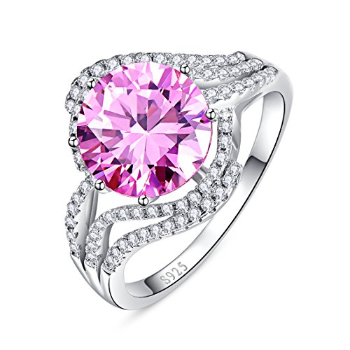 Merthus 925 Sterling Silver 5.2 cttw Natural Pink Topaz Ring