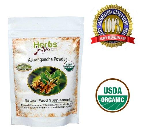 Herbs India - Ashwagandha Powder 8 Oz 1/2Lb. 100% Usda Certified Organic.