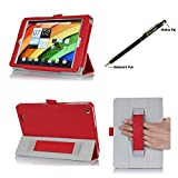 ProCase Folio Stand Case for Acer Iconia A1-830 Tablet Case - Tri-Fold Slim Book Cover for Acer Iconia A1-830 Android Tablet (2014 released), Corner Protected, with Stand, Hand Strap, bonus stylus pen included (Red)