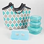 Bayside Insulated Bag Kit with Matching Fresh Selects Container Set (Aqua Gray Ikat Tile)