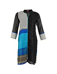 Karni Women's Georgette Black & Blue Kurti
