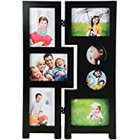Priya Collections Glass 7-in-1 Collage Photo Frame With Frame (48 Cm X 30 Cm X 3 Cm, Black)