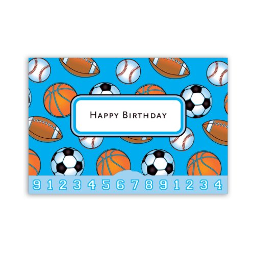 Jillson Roberts Gift Card Holders, Happy Birthday, Lots of Sports, 6-Count (GCP018)