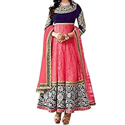 Beautiful Designer Semi-stiched Anarkali Pink Dress Material By Durga Fashion