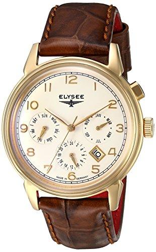 Elysee Vintage Calendar reloj para hombre de oro con correa de cuero marrón