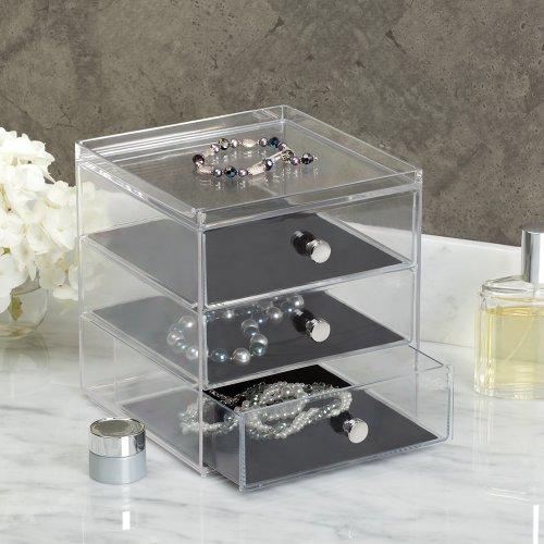 Interdesign clarity jewelry organizer 3 drawer clear for Bathroom jewelry holder
