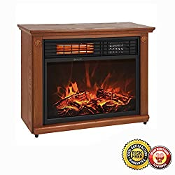 New Large Room Infrared Quartz Electric Fireplace Heater Honey Oak Finish w/ Remote from MTN Gearsmith