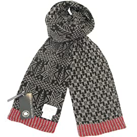 Knitted Wool Scarf for Men and Women - Beautiful Unisex Knitted Scarves - Made in Scotland - Christmas Tree and Snow Flakes Design