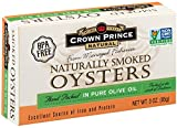 Crown Prince Natural Smoked Oysters are naturally smoked over oak and are packed in pure olive oil. These delicious oysters are harvested in South Korea and are considered to be of the highest quality available. They provide an excellent source of protein and iron. Smoked Oysters are perfect for appetizers, sandwiches, pizza or straight out of the can.