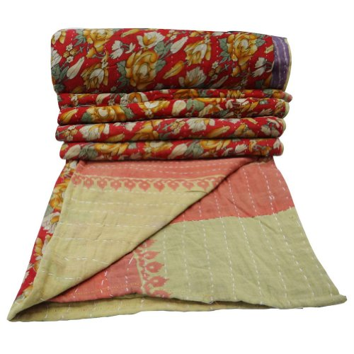 "Decorative Red Vintage Cotton Quilt Gudri Crib Size Kantha Floral Pattern Reversible Bedspread India 46"" X 37""Inches front-1079956"