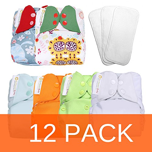 Sunflowerbaby One Size Stay Dry Cloth Diaper Set 12 Pack