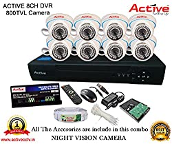 ACTIVE 8CH DVR DOM-CABLE-HARDDISK-BNC-DC-POWER SUPPLY-TIE CCTV CAMERA COMBO