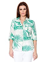 Cortefiel Camisa Safari (Blanco / Verde)