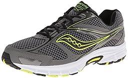Saucony Men\'s Cohesion 8 Running Shoe, Grey/Black/Citron, 11 M US