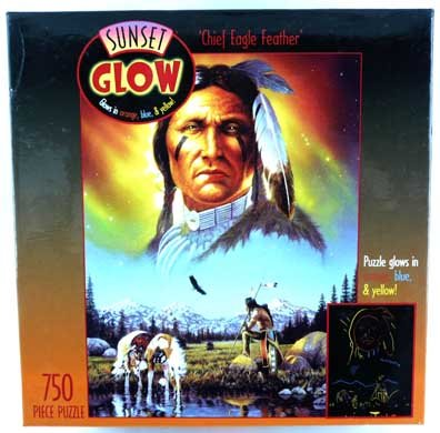 Sunset Glow Chief Eagle Feather 750 Piece Puzzle Glows in Orange, Blue and Yellow - 1