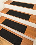 NaturalAreaRugs Halton Carpet Stair Treads with Peel and Stick Strips Rug (Set of 13), 9-inch x 29-inch, Charcoal