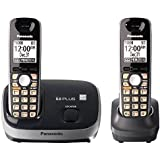 Panasonic KX-TG6512B DECT 6.0 PLUS Expandable Digital Cordless Phone System, Black, 2-Handset