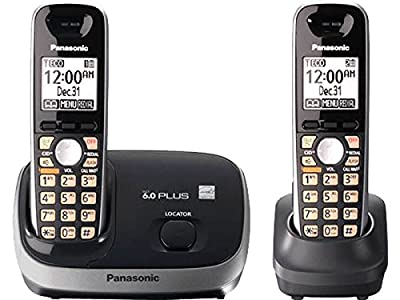 Panasonic KX-TG6512B DECT 6.0 PLUS Expandable Digital Cordless Phone System Black 2 Handsets
