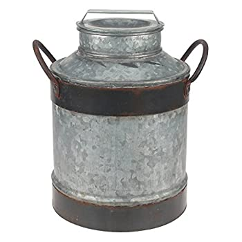Stonebriar Large Aged Galvanized Milk Can with Rust Trim and Handles