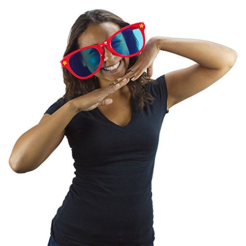 Red Jumbo Sun Glasses By Pudgy Pedro's Party Supplies
