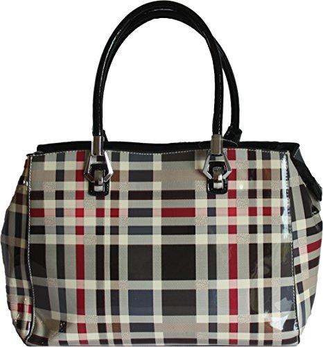 H&G Ladies Designer effetto vernice Tartan Tote \ spalla borsa dell'Ange - Parigi