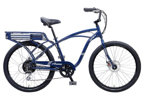 IZIP E3 Zuma Mens Beach Cruiser Electric Bicycle - Cantilever Frame Large - Blue
