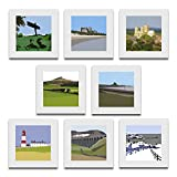 Pack of 8 blank, fine art greeting cards (Angel of the North, Bamburgh Castle, York Minster, Roseberry Topping, Holy Island, Souter Lighthouse, Ribblehead Viaduct, Whitby)