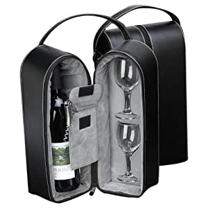 Black Leather Wine Carrier Caddy Travel Bag w/ Two Glasses,Stopper/Opener -Nice Bar Set