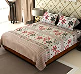 Amethyst Floral Cotton Double Bedsheet with 2 Pillow Covers - White