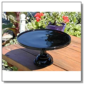 Solid Black Amethyst Purple Glass 12 Cake Stand
