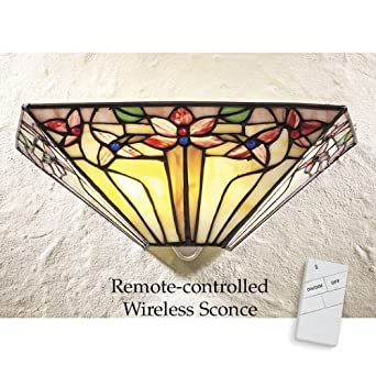 Burgundy Flowers Remote Controlled LED Wall Sconce - - Amazon.com