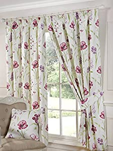 "Elsa Floral Poppy Cream Purple 90"" X 90"" Lined Pencil Pleat Curtains #der Eille by PCJ Supplies"