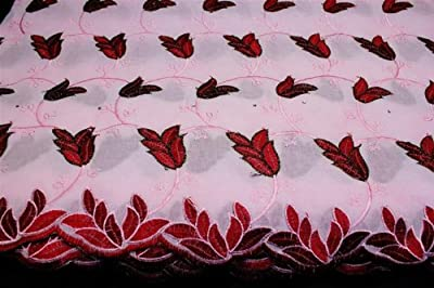 Pink, Poly Cotton Embroidery Lace Fabric, African Design Textile in 10 Colors