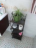 EIK -Idées de salle de bains en fer forgé en rack quatre étagères rack de stockage simple , Black...