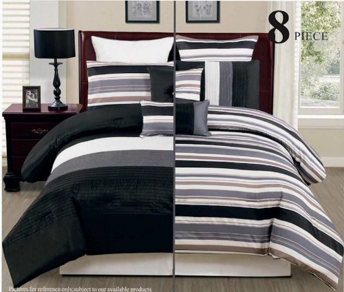 8Pc Reversible Luxury Comforter Bed In Bag Bedding Set, Queen, Black/Grey/White front-983687