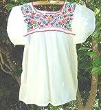 メキシコ刺繍ブラウス オフホワイトxカラフルm