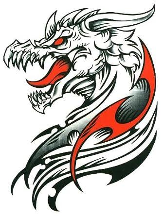 "Red & Black Tribal Dracul Dragon Temporary Body Art Tattoos 6"" x 4.5"""