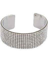Yoana Silver Rhinestone Cuff Bracelet For Girls