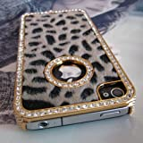 Luxury Designer Bling Crystal Leopard Cheetah Fur Hard Case Cover for Apple IPhone 4 4S