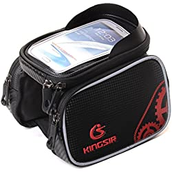 4ucycling Kingsir Bike Front Tube Cell Phone Bag with Touch Screen Phone Case (Red)