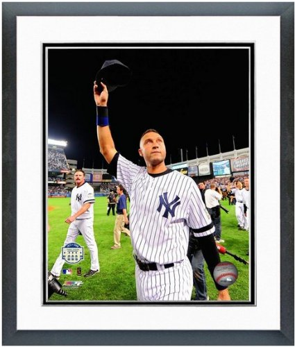 "Derek Jeter New York Yankee Stadium Final Game Photo (Size: 12.5"" X 15.5"") Framed front-1058470"