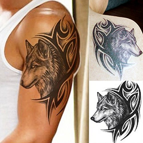 rivthing-1-pcs-wolf-head-waterproof-temporary-removable-tattoo-body-arm-leg-art-sticker