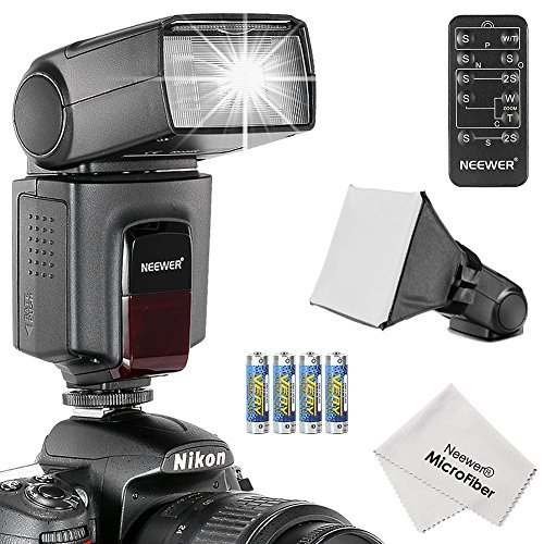 Neewer® TT560 Speedlite Flash Kit for Canon Nikon Olympus Fujifilm and any Digital Camera with a Standard Hot Shoe Mount, Includes: (1)TT560 Flash + (1)Universal Portable Softbox Flash Diffuser + (1)Universal 5-in-1 Multi Function Remote Control (for Nikon D3200 D3100 D3000 D3300 D5000 D5100 D5200 D5300 D7000 D7100 D200 D300 D600 D610 D700 D750 D800, Canon T3i T4i T5i SL1 60D 70D 5D 6D 7D, Sony A230 A33O A450 A500 A550 A700 A900) + (4)Batteries + (1)Microfiber Cleaning Cloth  available at amazon for Rs.5649