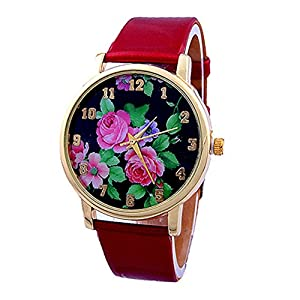 Women Ladies Rose Flower Printed Dial Leather Strap Quartz Wrist Watch Red