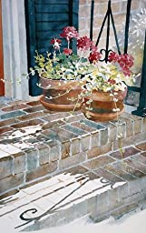 Sunny Doorstep, Photolithographic Print of Watercolor Flower Painting, Picture of Red Geraniums by an Old Door, 16 X 25 Inches