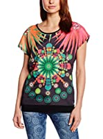 Desigual Camiseta Manga Corta (Negro / Multicolor)