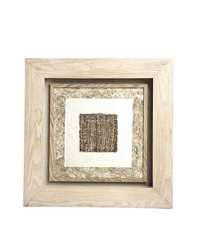 Saro Lifestyle Natural Framed Dark Square Paper Art