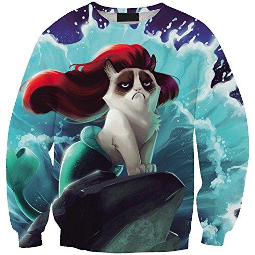 Sunnydate - Felpe, maglioni e magliette per lo sport e il tempo libero, con motivo stampato in stile casual Grumpy cat Formato libero
