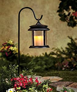 Flickering Solar Garden Candle Lantern With Stake Landscape Pa